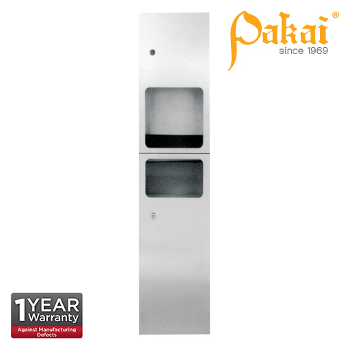 Pakai 2-IN-1 Stainless Steel Reccess Mounted Automatic Hand Dryer with Waste Receptacle Door PK-REC-