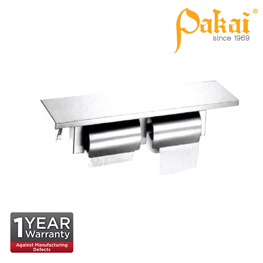 Pakai Satin Stainless Steel Surface Mounted Double Paper Holder SSTPHD457