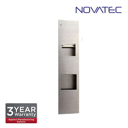 Novatec 3-In-1 Stainless Steel Recessed Paper Towel Dispenser, Waste Receptacles And Automatic Hand
