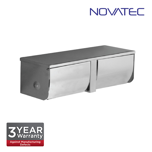 Novatec Stainless Steel Surface Mount Double Paper Holder With Shelf  TPH3910