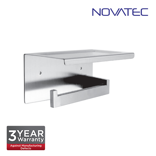 Novatec Stainless Steel 304 Surface Mounted Paper Holder With Shelf TPH-A41