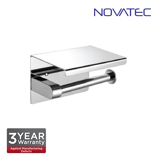 Novatec Stainless Steel 304 Surface Mounted Paper Holder With Shelf TPH-A43