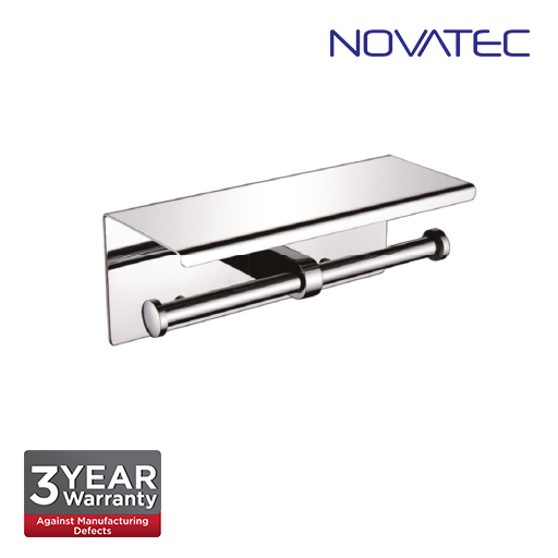Novatec Stainless Steel 304 Surface Mounted Double Paper Holder With Shelf TPH-A44